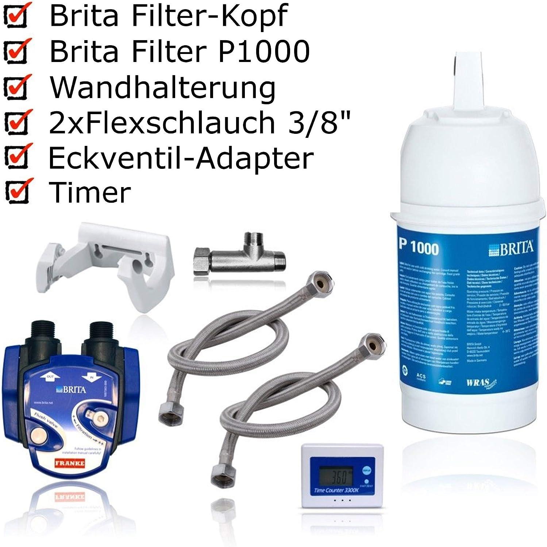 BRITA - Kit para instalación de Filtro de Agua bajo Lavabo: Cartucho de Filtro P1000, Cabezal de Filtro, indicador de Cambio de Cartucho, mangueras, Adaptador de válvula de Esquina.