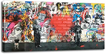 Banksy Bulletproof Cherub Street Paint Picture Print on  Framed Canvas Wall Art