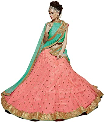 a9c3b77d8479 Yosshita & Neha Peach lehenga with matching soft net Dupatta with diamond  work: Amazon.in: Clothing & Accessories