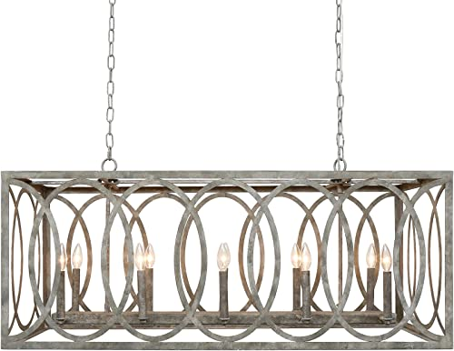 CHATRIE Large Gray French Country Rectangular Chandelier, 45 Wide
