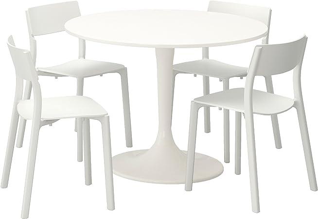 Zigzag Trading Ltd Ikea Docksta Janinge Table And 4 Chairs White White Amazon Co Uk Kitchen Home
