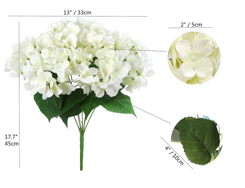 Home Party Decoration Felice Arts Artificial Flowers 18 Silk 7 Big Head Hydrangea Bouquet for Wedding Hotel 1 Cream /¡/ Room
