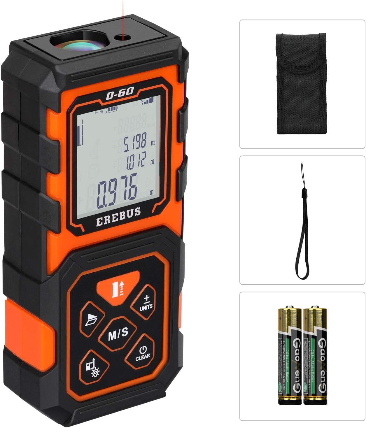 Erebus,D-60,Laser Distance Meters, Laser Distance Meter 196Ft/60M Digital Tape Measurement Werkzeug Measuring Device mit groß Backlit Display und 2Pcs Batteries