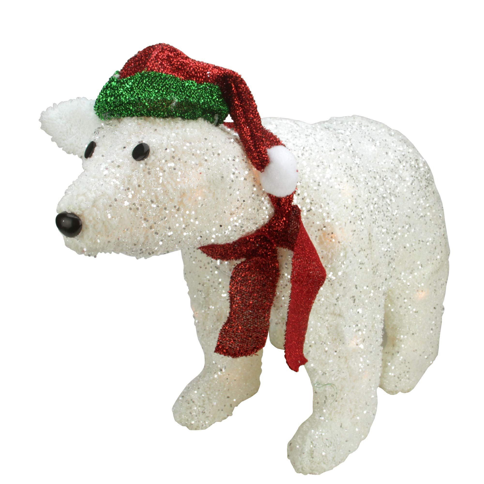 Northlight H85232 23'' Lighted White Plush Glittered Polar Bear Christmas Yard Art Decoration