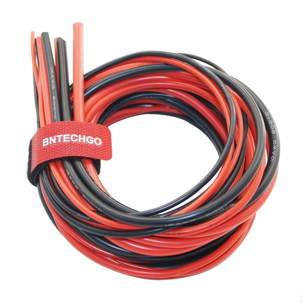 BNTECHGO 10/12/14/16/18 Gauge Silicone Wire 600V 30 Feet(3ft Black and 3ft Red:10AWG,14AWG,12AWG,16AWG and 18AWG) Flexible High Temperature Resistant Electric Wire Strands of Tinned Copper Wire