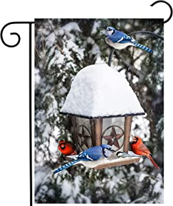 "ShineSnow Blue Jays Cardinals Christmas Birds in Seasonal Winter Snow Tree Garden Yard Flag 12""x 18"" Double Sided Polyester Welcome House Flag Banners for Patio Lawn Outdoor Home Decor"