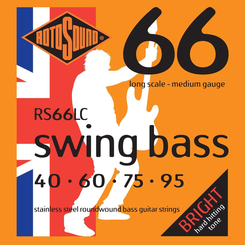 Rotosound RS66LC - Juego de cuerdas para bajo eléctrico de acero inoxidable, 40 60 75