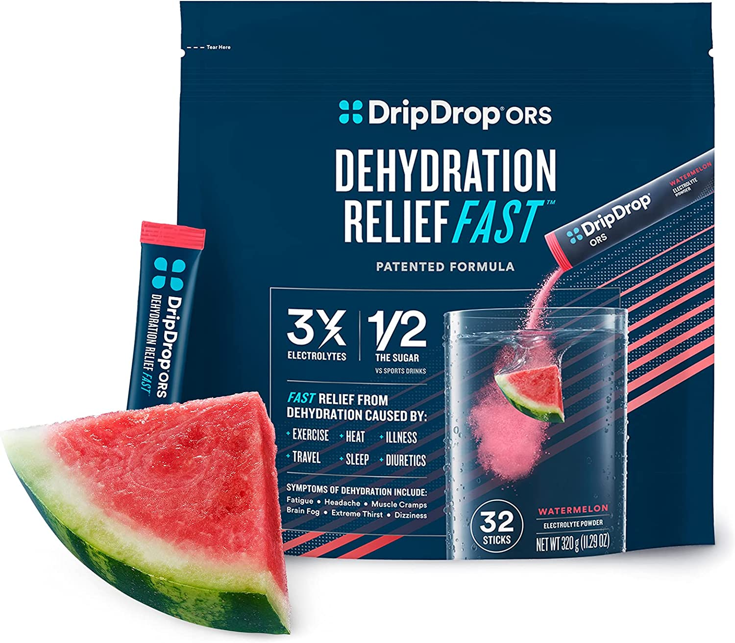 DripDrop ORS - Patented Electrolyte Powder For Dehydration Relief Fast - For Workout, Sweating, Illness, & Travel Recovery - Watermelon - 32 x 8oz Servings