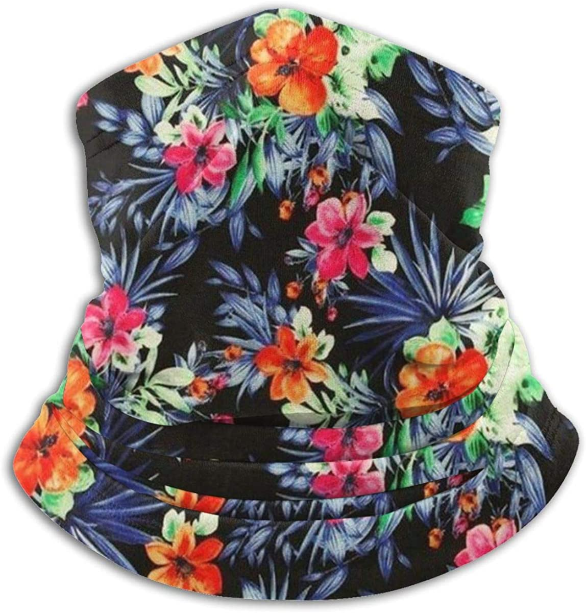 Tropical Print Wallpaper Flowers Background And Image Hawaiian Floral. Neck Warmer Scarf Gaiter Face Mask Bandanas For Dust Cold Weather Winter Outdoors Festivals Sports For Men And Women