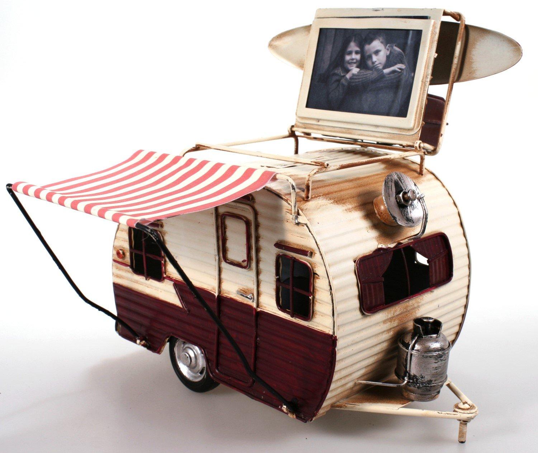 Amazon.de: Wohnwagen aus Metall rot mit Rahmen und Spardose Camper ...