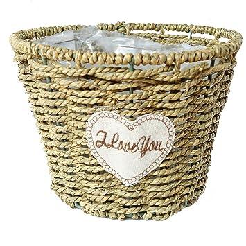 Sunnyhill handmade basket Wicker rattan vases pots home decoration lower  arrangement flower basket (7.5 in)