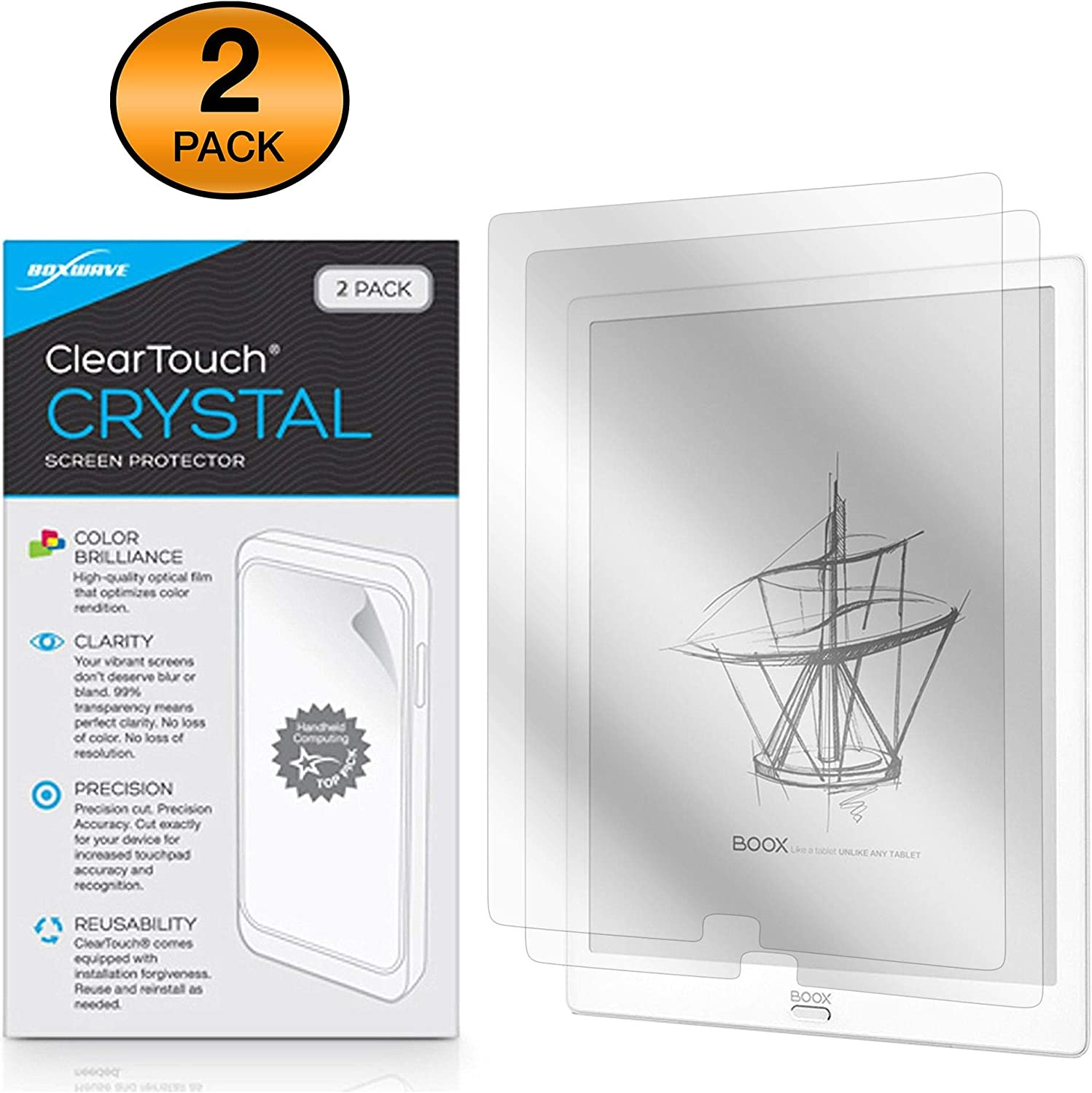 Onyx Boox MAX3 Screen Protector Shields from Scratches for Onyx Boox MAX3 BoxWave ClearTouch Crystal 2-Pack HD Film Skin
