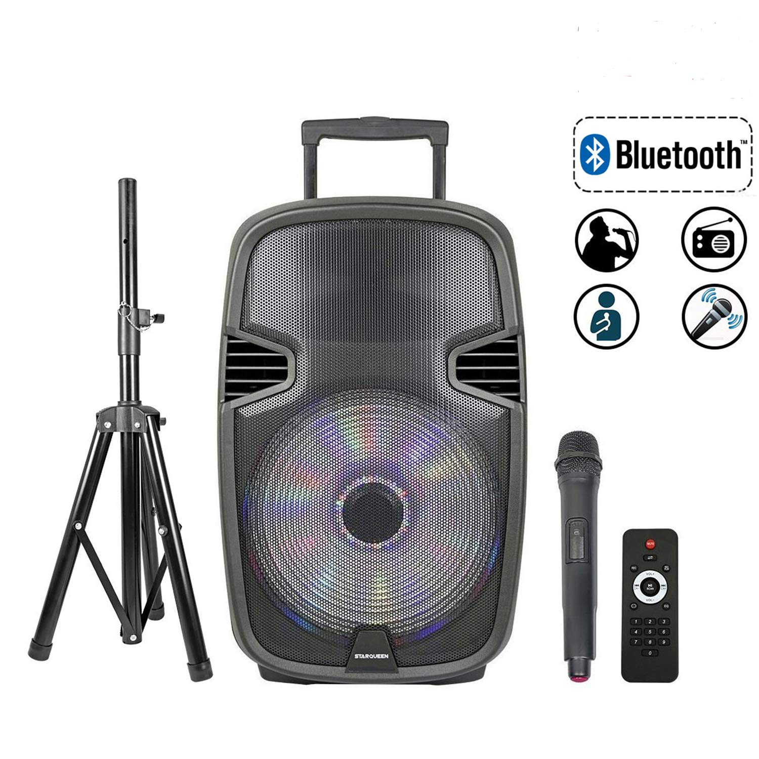 STARQUEEN 15'' Portable Bluetooth Speaker, Outdoor Rechargeable PA System with Wireless Microphone/Remote/Wheels/DJ Lights/Stand, Big Karaoke Party Amplifier Sound System with AUX/FM Radio/SD/USB
