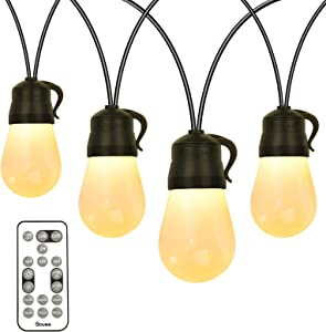 Govee Outdoor String Lights 48ft, Remote Patio Lights with 15 Dimmable Warm White LED Bulbs, Connectable and Shatterproof LED String Lights for Patio, Garden, Backyard, Party, Deck
