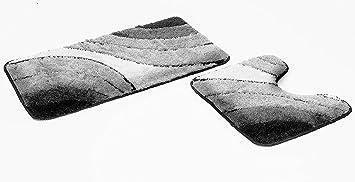 Fd Workstuff 2 Teiliges Badematten Set Sliding Wave Grau I Badvorleger 50x90 Wc Vorleger 50x45 I Mit Ausschnitt I Garnitur I Teppich I Badezimmer I