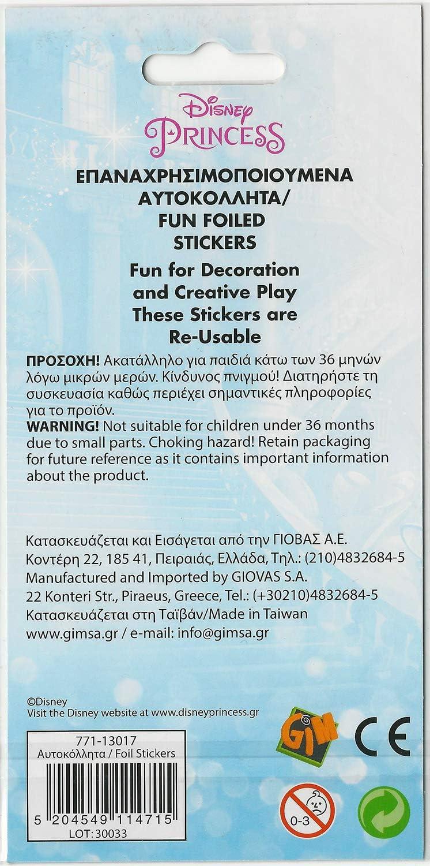 Paper Projects 9114715 Princess Glitzernde Wiederverwendbare Aufkleber Mit Disney Prinzessinnen Schriftzug Verschieden 19 5cm X 10cm Spielzeug