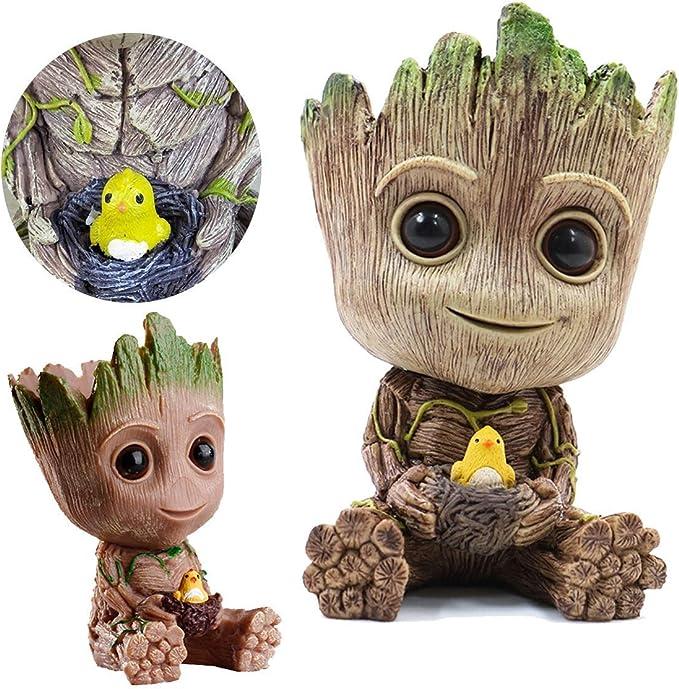 Home Decor Accessories Baby Groot Pen Holder Plants Flower Pot Cute Tree Figurin