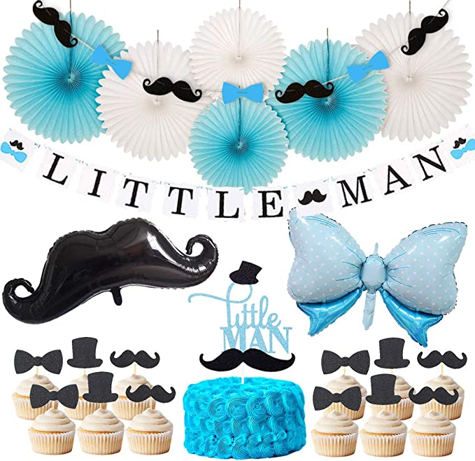 Boy 1st Birthday Banner. OneParty Little Man Banner with Mustache and Bow Tie Boy Baby Shower Banner