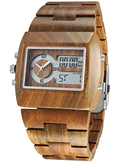 Alienwork Reloj Unisex Relojes Hombre Mujer Madera Sándalo Verde Verde Analógico-Digital Calendario Fecha-Mes Impermeable Madera Natural: Amazon.es: Relojes