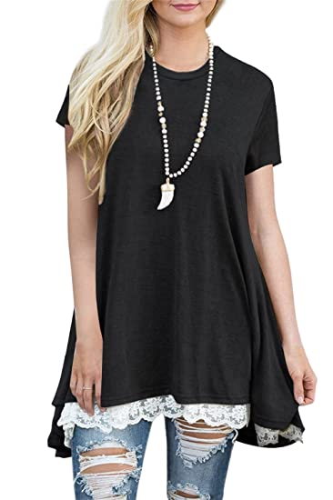 1231b09758 FERYSHE Womens Tunics Short Sleeve Lace Round Neck Swing Tunic Shirt Blouse  Top S Black
