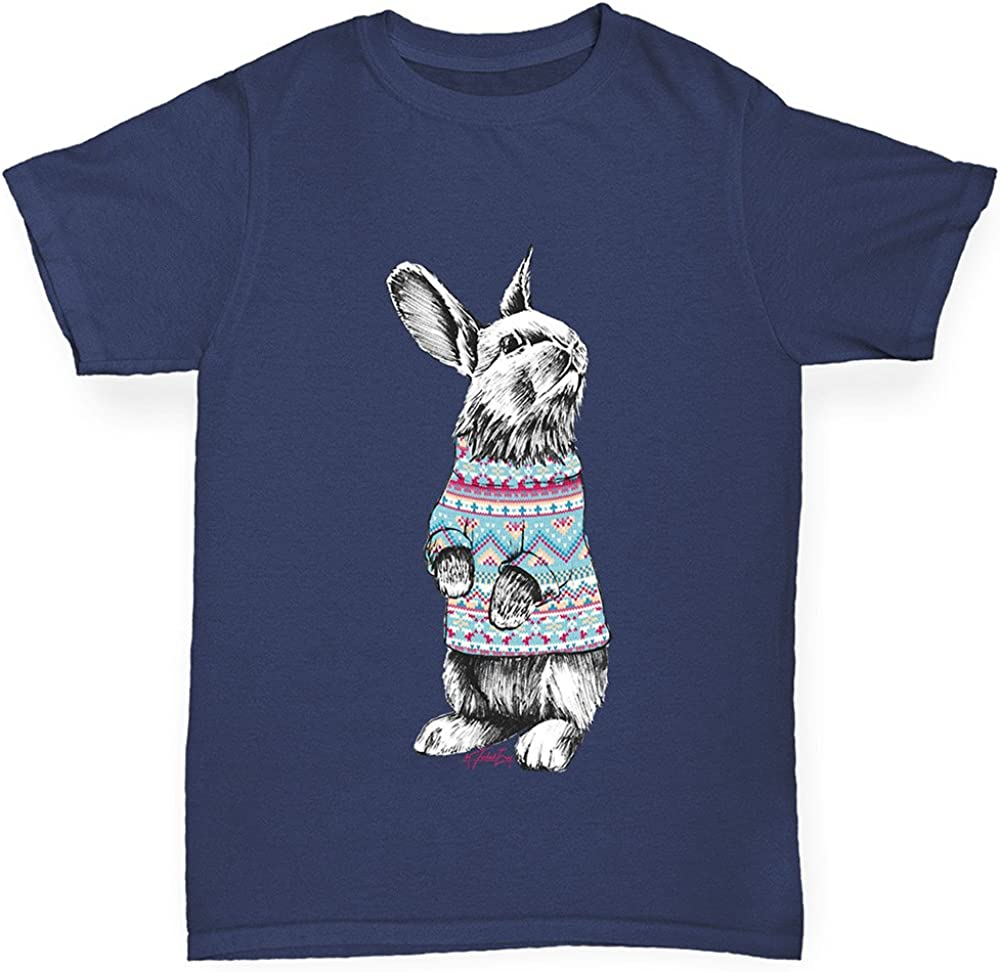 TWISTED ENVY Boys Christmas Jumper Bunny Cotton T-Shirt Comfortable and Soft Classic Tee with Unique Design Age 3-4 Navy