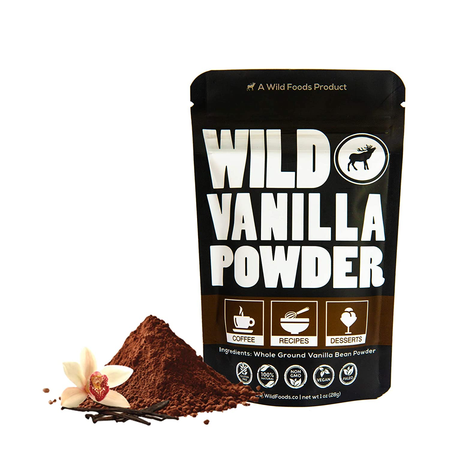 Wild Vanilla Bean Powder Organic & Raw - All Natural Pure Vanilla Powder from Madagascar - For Baking Cooking Coffee Flavoring & Smoothies - Unsweetened Gluten Free Non GMO Superfood Powder (1 ounce)