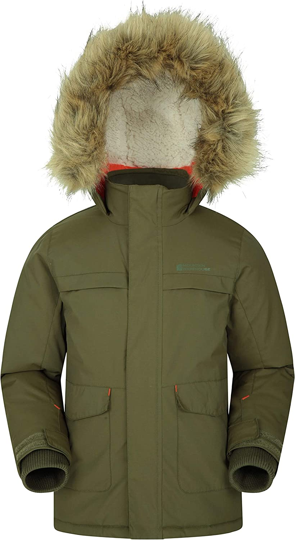 Multiple Pockets Ideal for Winter Fleece Lined Fur Hoodie Mountain Warehouse Samuel Kids Parka Jacket Water Resistant