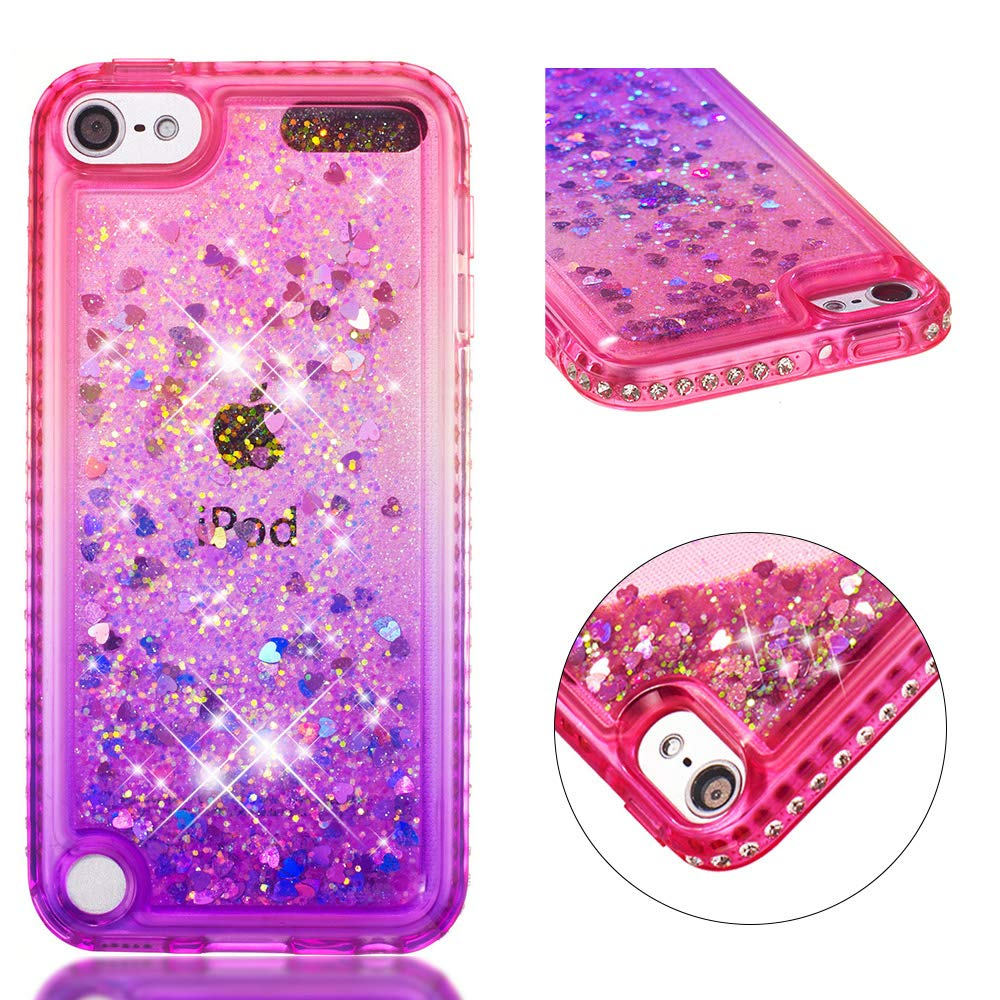 for ipod Touch 5/Touch 6 Case Glitter Liquid and Screen Protector, Gradient Colors Design Shiny Diamond Frame Clear Slim Fit Protective Phone Case, QFFUN Bling Sparkle Floating Quicksand Back Cover Shockproof Anti-Scratch Soft TPU Bumper - Pink and Blue
