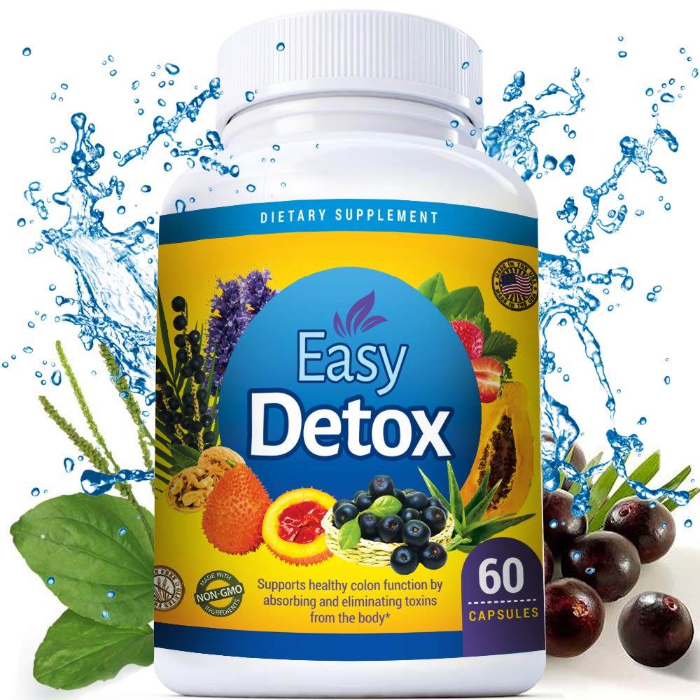 Body Detox Cleanse Pills With Acai Berry and Psyllium Husk For Women And Men. Metabolism Boost & Weight Loss. Natural and Organic Dietary Supplement For Digestive Detox. 100% Money Back Guarantee! by EasySlim