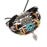 The Jewelbox Handcrafted Black Leather Multistrand Owl Leaf Bracelet for Men