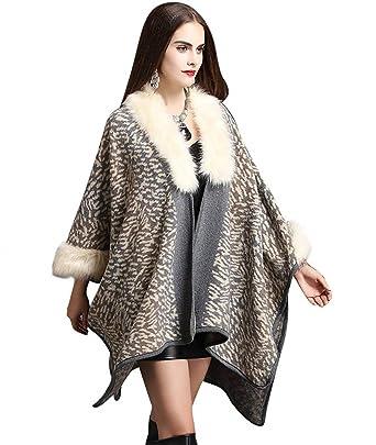 24b43bd261bf46 HX fashion Femme Châle Automne Hiver Veste en Fourrure Élégant Mode ...