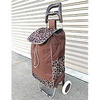 Shopping Trolley Bag Foldable Bags Luggage Folding Basket Pull Wheels (Coffee)