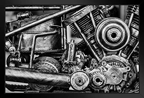 Old Vintage Motorcycle Metal Engine Block Black And White Photo Poster 18x12 inc