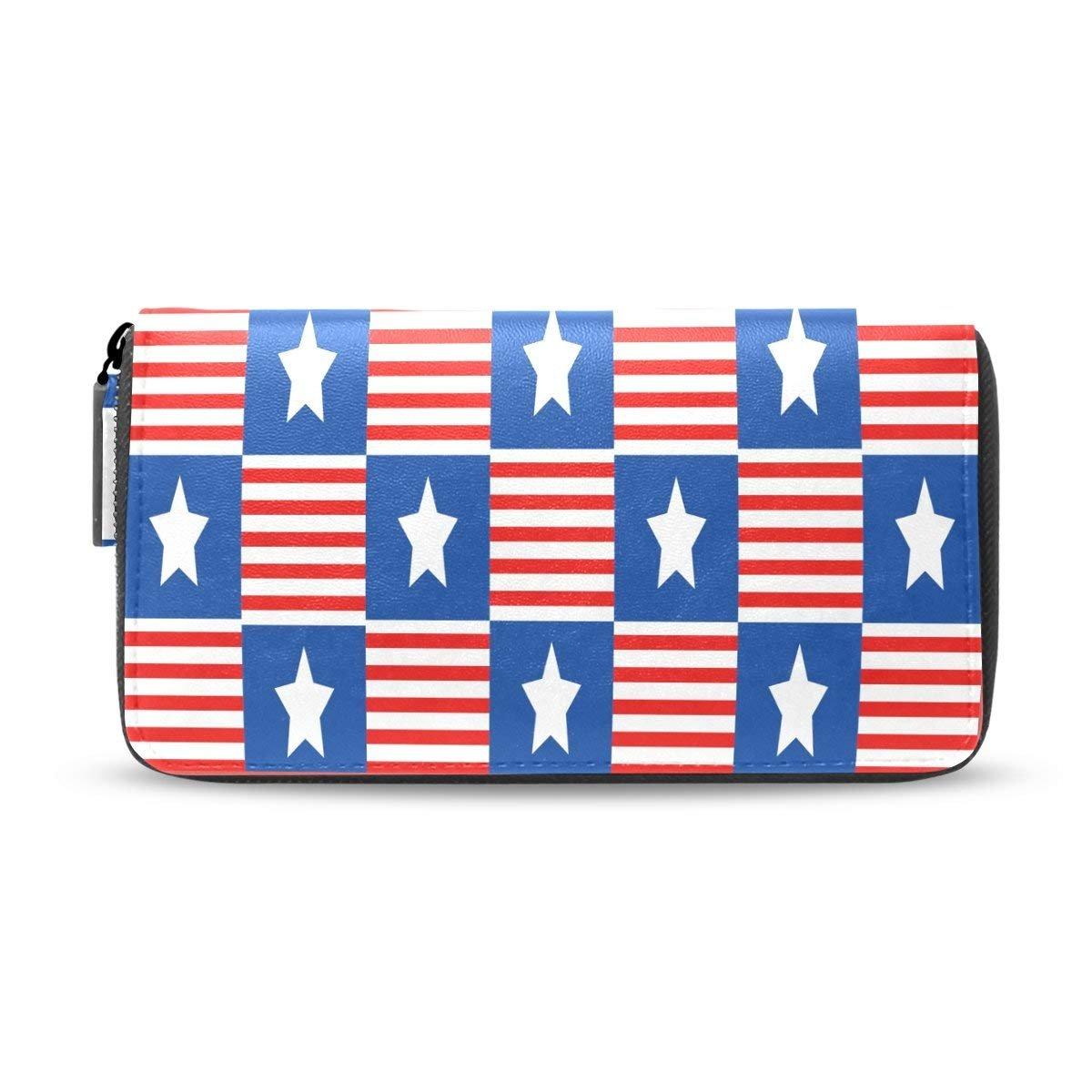 American Usa Flag Zipper Passport Long Purses Handbag Card Money Organizer Wallet