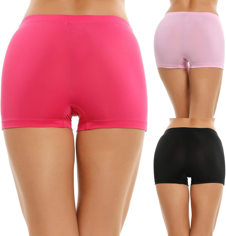 Imposes Women Soft Low Rise Boyshort Panty 3 Pack Underwear L Black Pink Rose Red