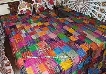 Amazon.com: COR's King Size Patola Silk Patch Work Kantha Quilt ... : blanket quilt - Adamdwight.com