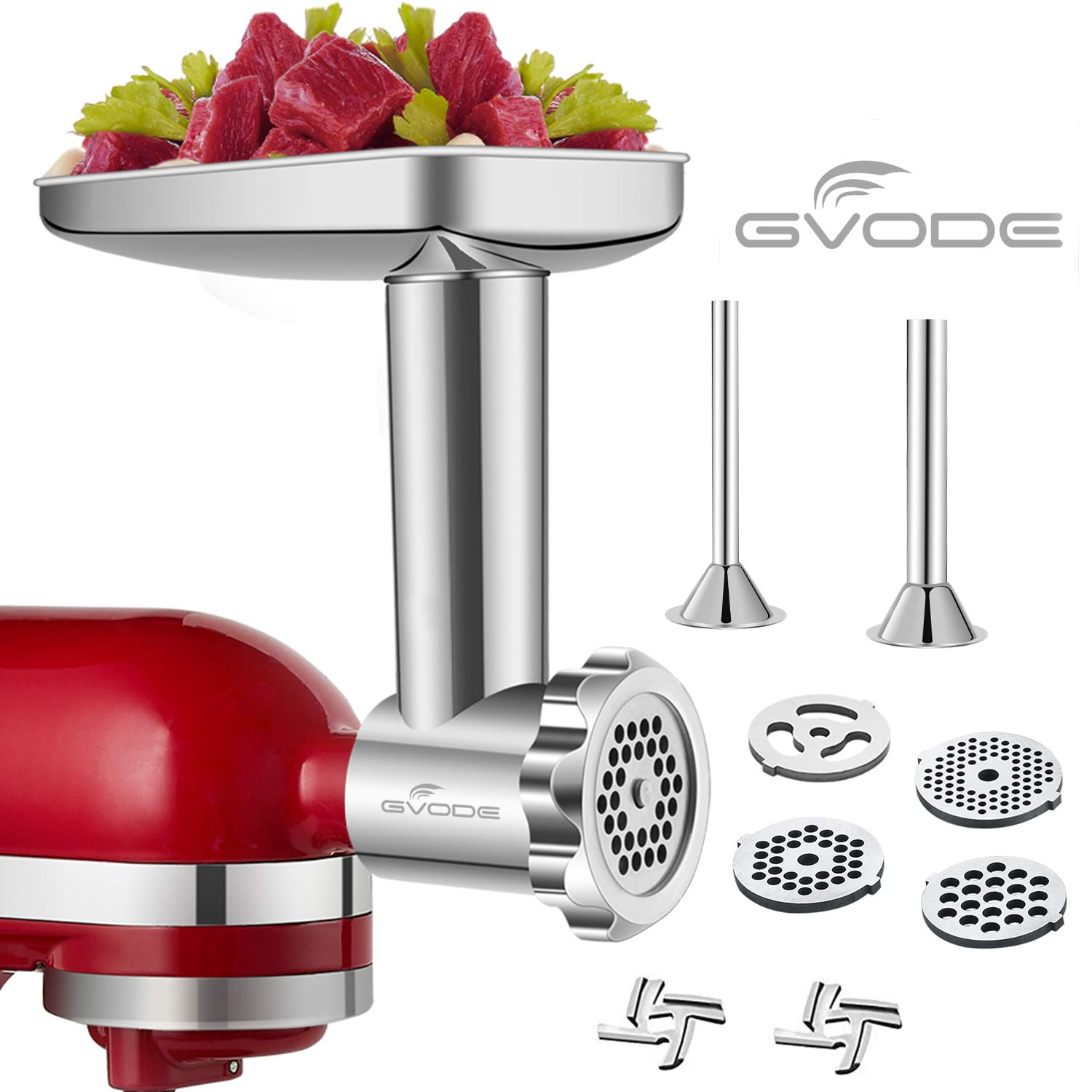 Stainless Steel Food Grinder Accessories for KitchenAid Stand Mixers Including Sausage Stuffer, Stainless Steel,Dishwasher Safe by GVODE