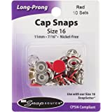 Snap Source Capped Long-Prong Snaps Size 16 10/Pkg-Flame Red