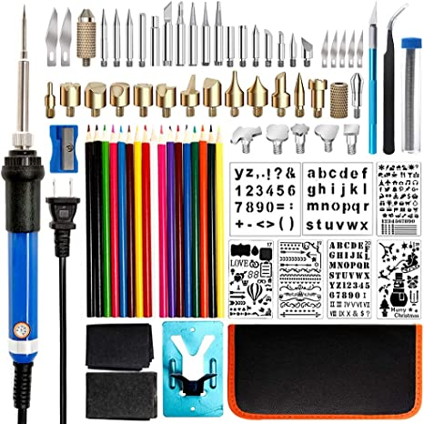 Vastar Wood Tool Burning kit,44 PCS with Adjustable Temperature Soldering Pyrography Wood Burning Pen