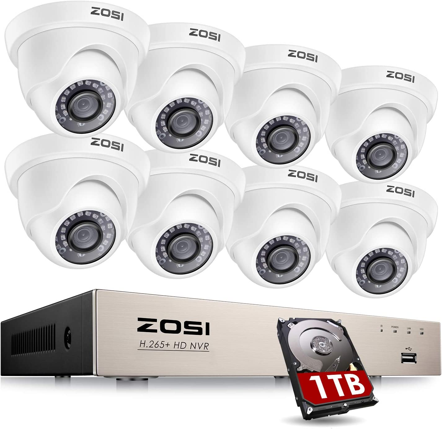 ZOSI 8CH PoE Home Security Camera System with Hard Drive 1TB,H.265+ 8-Channel 5MP 2K+ CCTV NVR,8pcs Wired 1080P 2MP Outdoor Indoor PoE IP Dome Cameras with Night Vision, Motion Alert, Remote Access