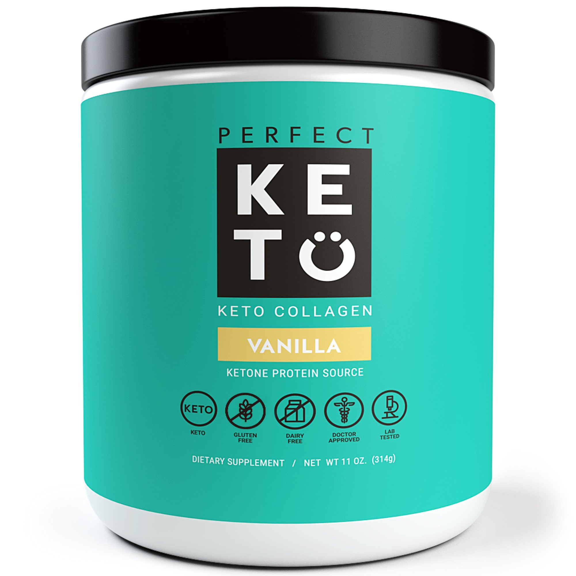 Perfect Keto Vanilla Protein Powder - Grass Fed Collagen Peptides Low Carb Keto Drink Supplement With MCT Oil Powder - Best as Keto Drink Creamer or added to Ketogenic Diet Snacks. Paleo & Gluten Free