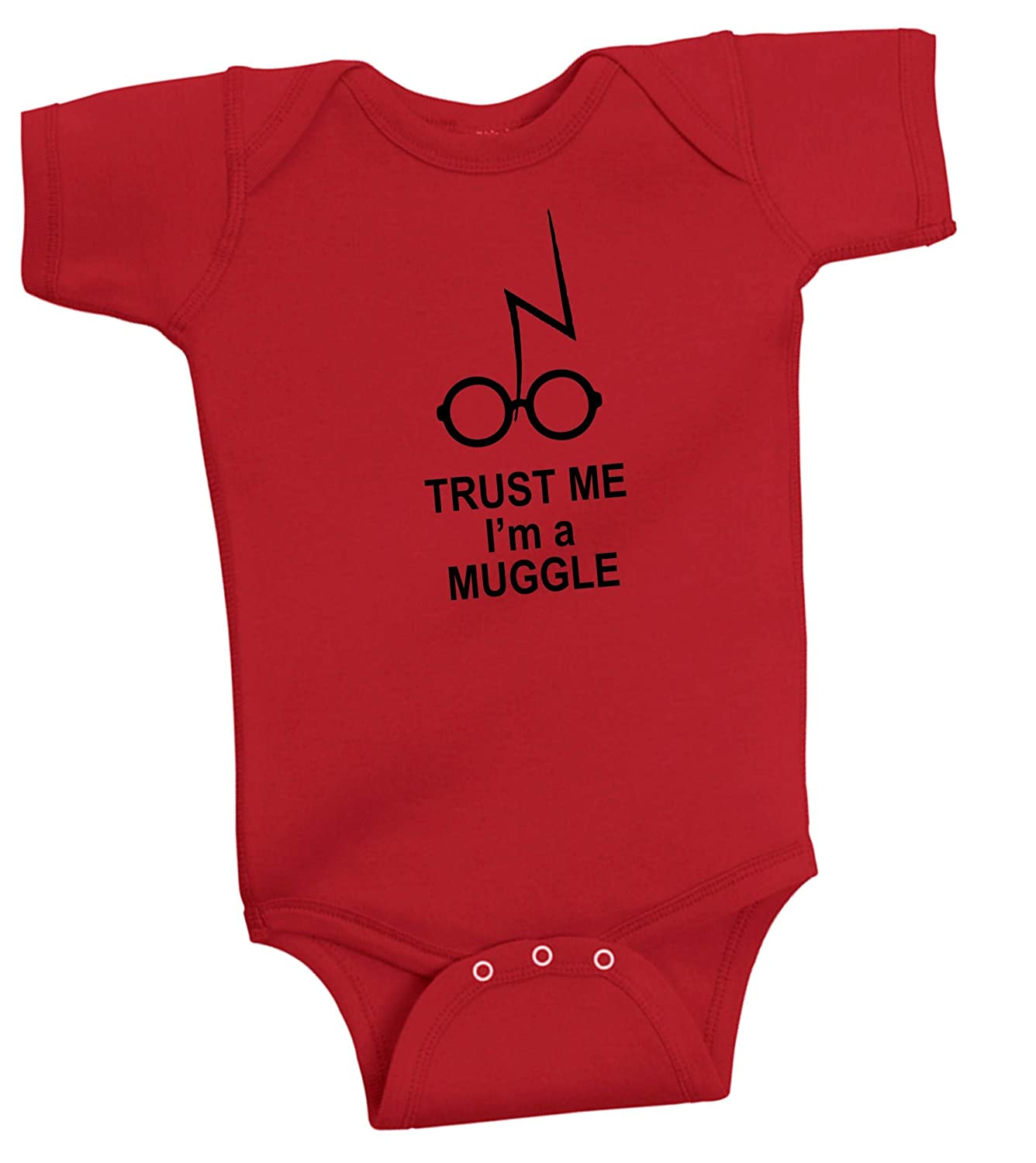 BeeGeeTees Trust Me Im A Muggle Funny Wizard Romper Wizard Onesie 6 Months, Heather Grey