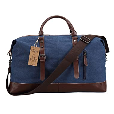 Ulgoo Travel Duffel Bag Canvas Bag PU Leather Weekend Bag Overnight