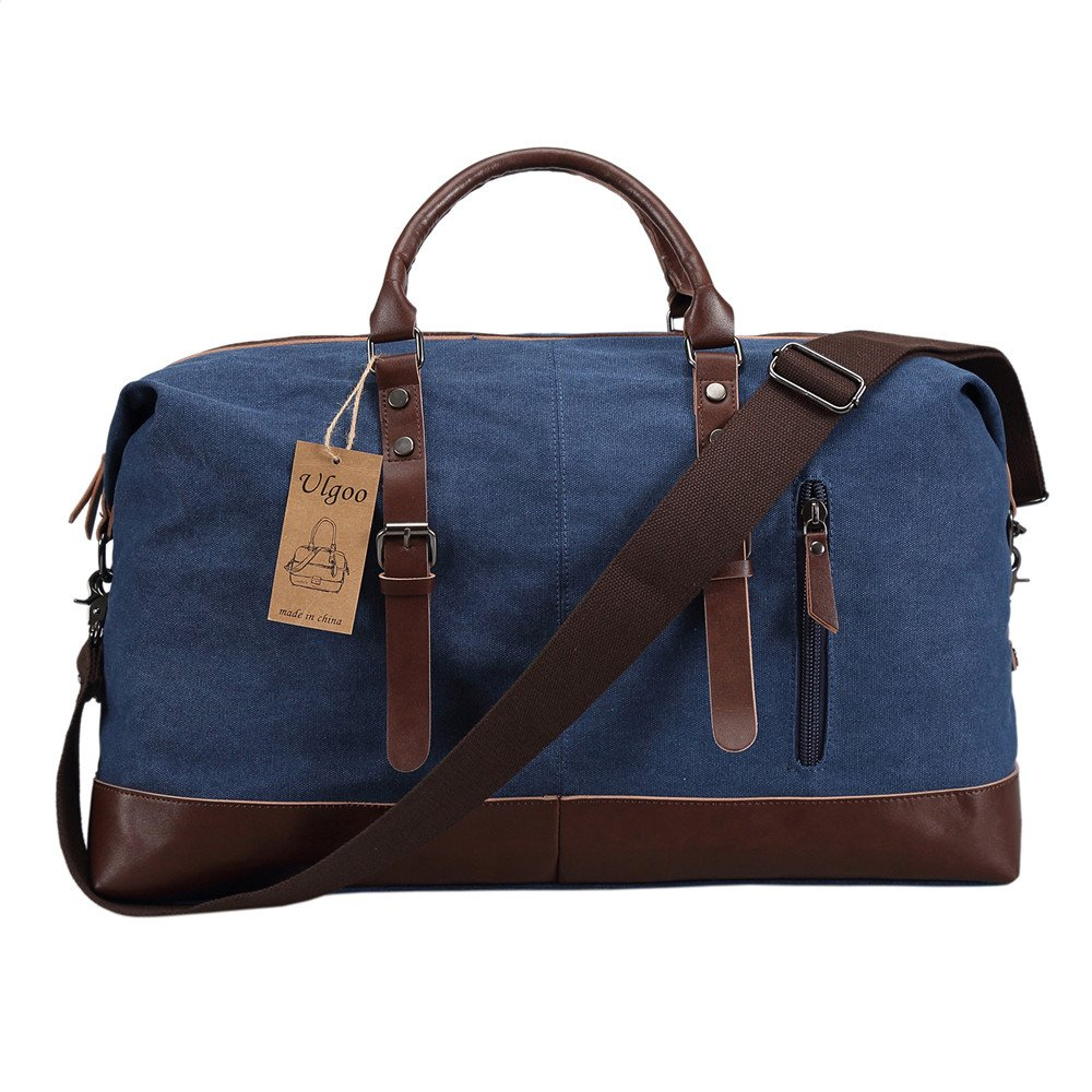 Ulgoo Travel Duffel Bag Canvas Bag PU Leather Weekend Bag Overnight (Deep Blue)