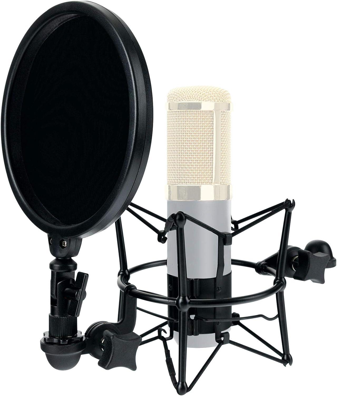 schwarz schwarze Mikrofonspinne, f/ür Mikrofone mit 45 bis 52 mm Durchmesser, inkl. 15cm-Popkiller Pronomic MSP-45 Mikrofonspinne mit Popschutz
