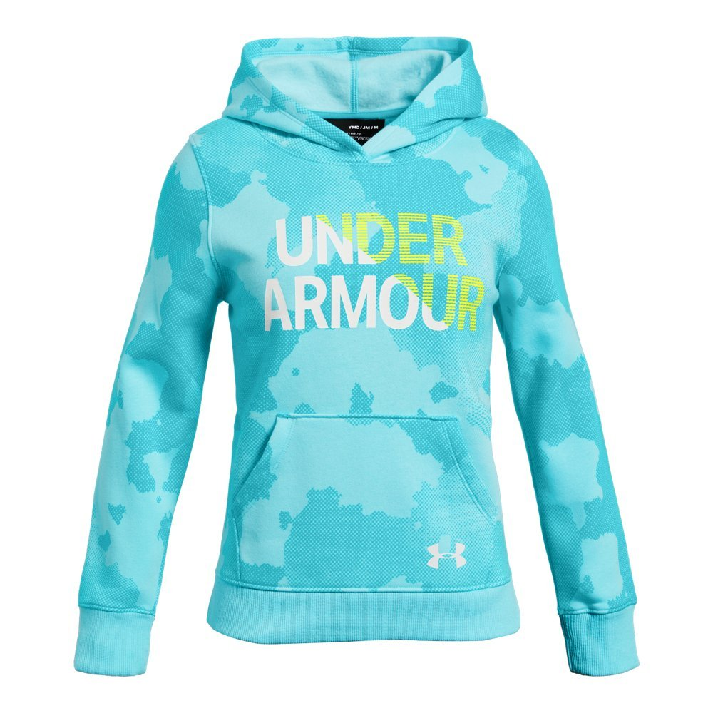Under Armour Girls Rival Hoodie, Venetian Blue (449)/High-Vis Yellow, Small by Under Armour