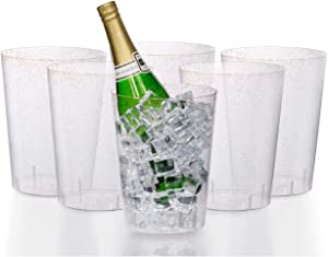 Exquisite 6 Pack Of 96 Ounce Disposable Gold Glitter Clear Plastic Ice Bucket For Parties - Good As One Large Champagne Chiller Or Classic Wine Bottle Chiller
