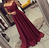 Dressylady Red Off The Shoulder A Line Long Prom
