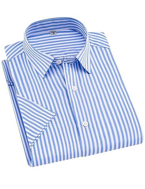 1ee6555cd6 DOKKIA Men's Casual Short Sleeve Vertical Striped Button Down Dress Shirts  (Light Blue White,