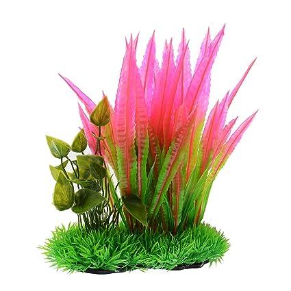 Saim Plantas acuáticas de plástico Artificiales para Acuario, Color Verde con Hojas Rojas